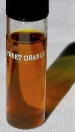A small bottle of sweet Orange essential oil.