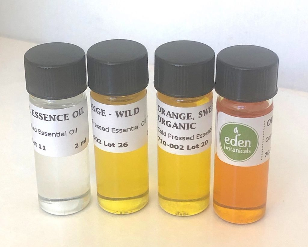 Orange Essence is from juice; Orange wild is from the Dominican Republic from trees that have reverted to a wild state; Orange sweet is from the United States and Blood Orange from Italy.